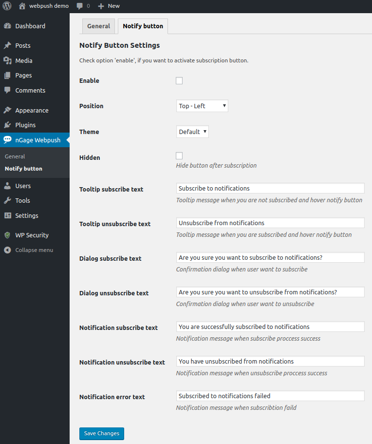 wordpress settings example